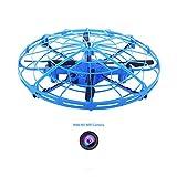 Drone Caméra HD Mini Quadcopter Soucoupe Volante RC Drone Anti-Collision LED Jouet pour Les Enfants Intelligents De Capteurs,Bleu