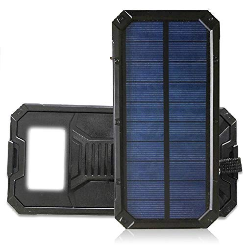 Mazerly Portable Solar Power Bank – 20000mAh Waterproof External Battery Backup Charger with Dual USB Ports and LED Flashlight for Camping and Outdoors – Compatible with iPhone and Android