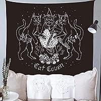 タペストリー猫の魔法と神秘的な碑文ペンダント掛かる布、リビングルームの寝室の部屋の壁の装飾 C- 150x200cm