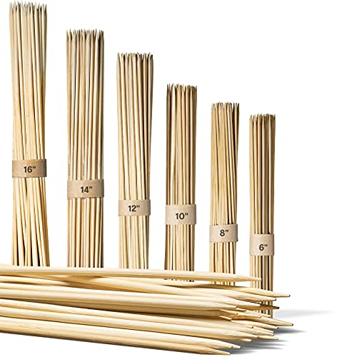 150 Bamboo Skewers For Kabobs - 25 Pieces Of 6 8 10 12 14 & 16 Inch | Wooden Skewers | Kabob Sticks | Kabob Skewers For Grilling | Skewer Sticks | Kebab Skewers | Bbq Skewers | Smores Skewers