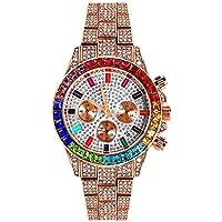 Reloj de Cuarzo cronógrafo para Hombre Hip Pop Luxury Iced out Diamante simulado Ronda Dial Calendario Reloj de Pulsera analógico