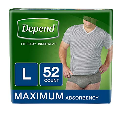 Depend FIT-FLEX Incontinence Underwear for Men, Maximum Absorbency, Disposable, L, Grey, 52 Count (2 Packs of 26) (Packaging May Vary)