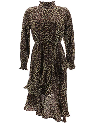 Shikha Londen dames chiffon jurk met volants luipaard 7124