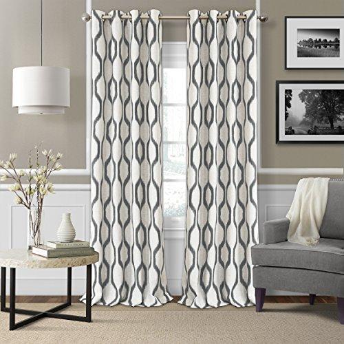 Elrene Home Fashions Renzo Ikat Geometric Linen Room Darkening Window Curtain Panel, 52u0022 x 84u0022 (1, Taupe-Gray