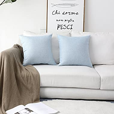 HOME BRILLIANT Lined Linen Cushion Covers Set of 2 Decorative Throw Pillow Covers for Bench, 18 x 18 inch, Light Blue
