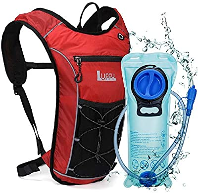 Hydration Backpack with 2L BPA Free Water Bladder - Lightweight Pack for Running Hiking Riding Cycling Climbing (Red)