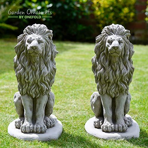 ONEFOLD - LION/LIONS HAND CAST STONE GARDEN ORNAMENT/STATUE/SCULPTURE/PLANTER