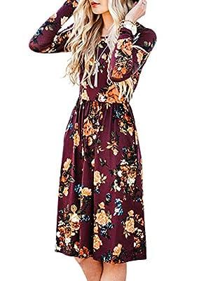 ZESICA Women's Long Sleeve Floral Pockets Casual Swing Pleated T-Shirt Dress