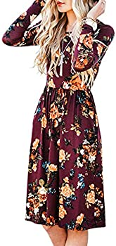 Zesica Women's Floral Pockets Casual Swing Pleated T-Shirt Dress