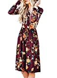 ZESICA Women's Long Sleeve Floral Pockets Casual Swing Pleated T-shirt Dress,Small,Burgundy Burgundy Small