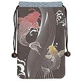 集印帳 2冊ても余裕のある日本製巾着タイプの朱印帳入れ 鯉の滝登り