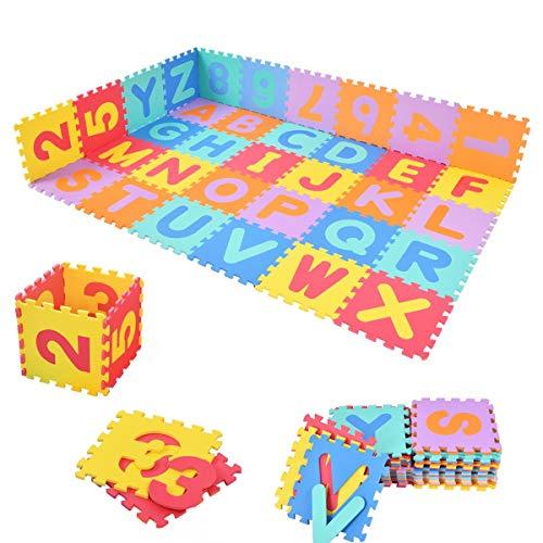 COSTWAY Tappetino da Gioco Puzzle da Pavimento per Bambini, in Eva Ecologico, 26 Pezzi Alfabeto e 10 Pezzi Figure