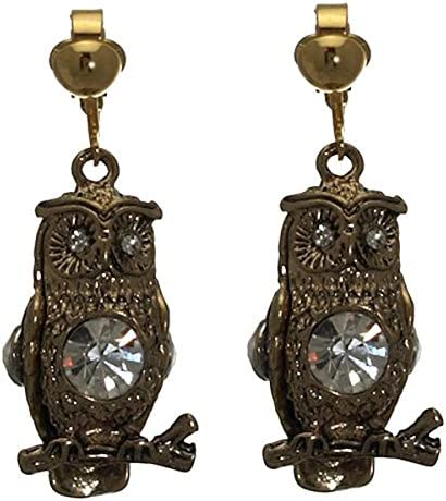 HARITA Gold tone Crystal Owl Clip On Earrings
