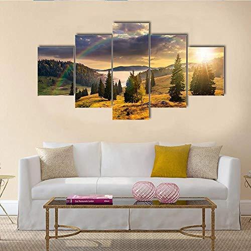 BDFDF Lienzo 5 Piezas Cuadro Lienzo No Tejido Ladera con Montañas De Bosques De Coníferas 5 Carteles Pintura Mural Modernos Hogar Decoracion Artes 150X80Cm