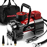 Smashier Portable Air Compressor Tire Inflator - 12V DC Heavy Duty Digital Pump with 9 LED Light for Car/Motorcycle/Air Matress, 12FT Extended Cord Upgraded Quick Connector,Fast Inflation