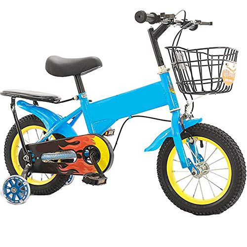 TOOSD Bicicleta para Niños De 12-18 Pulgadas, Niños, Niñas, Bicicletas De Estilo Libre con Canasta Y Ruedas De Entrenamiento, Primer Regalo De Cumpleaños del Niño,A,18