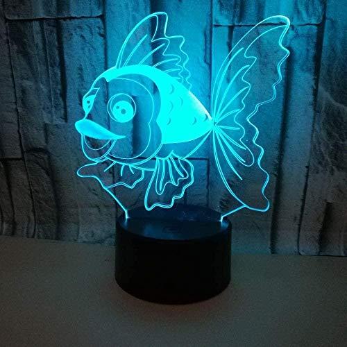 Peces 3D Luz de Noche de la Mesita de Aprendizaje Protección de los Ojos de la Lámpara Decoración Creativa Lámpara de Mesa