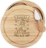 Beware Loco Sirena Hombre Queso de Madera Tabla Juego 4 Cuchillos