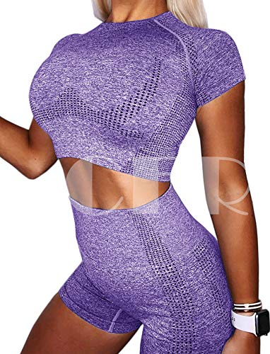 CFR Short Sleeve T-Shirt Yoga Crop Tank Tops Seamless Compression Slim Tight Fitness Workout for Women Dots Purple Lavender Tee,M