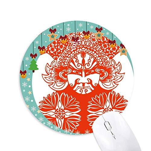 Rote Gesichtsmaske Peking Opera Papier geschnitten Maus Pad Jingling Bell Rund Gummi Mat