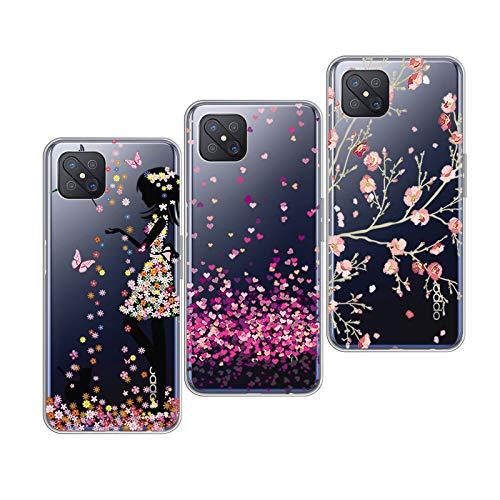 QFSM 3 Pack Hülle für Oppo Reno 4Z 5G Einfacher Stil Schutzhülle Transparent TPU Weich Tasche Silikon Handyhülle Schale Handyfall Hülle - Hübsches Mädchen + Pflaumenblüte + Liebe