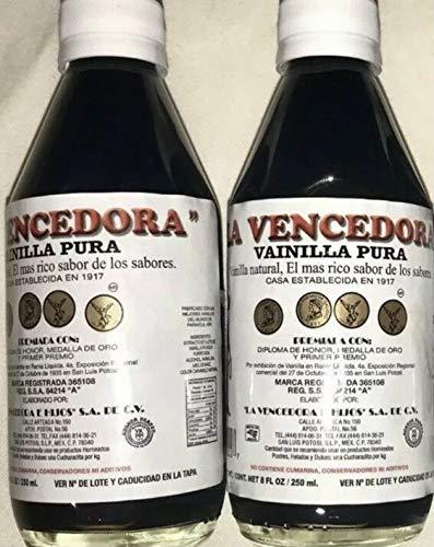 2 X La Vencedora Pure Mexican Vanilla Extract 2 Glass 8.45oz Bottles From Mexico by La Vencedora