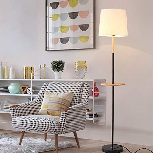 Nordic Creative staande lamp, zwart, palen, recht, hout, rond, stof, smeedijzer, led, staande lamp, 1,65 m, met trekschakelaar voor woonkamer, slaapkamer, kantoor
