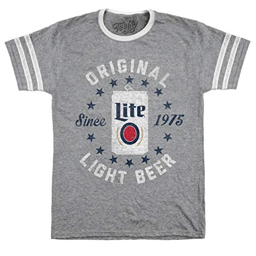 Tee Luv Miller Lite T-Shirt - Miller Lite Original Varsity Beer Shirt (Oxford Grey/White) (LG)