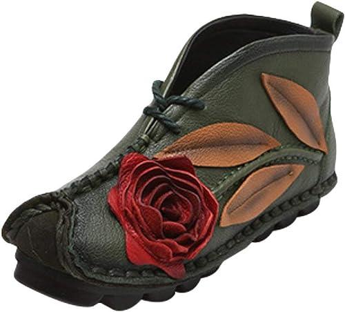 ZHRUI Chaussures Plates Ethniques Faites à la Main à Semelle Souple pour Femmes (Couleuré   Vert, Taille   6_UK)
