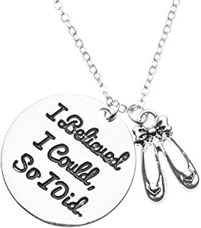 Sportybella Dance Necklace, Dance I Believed I Could So I Did Jewelry, for Dancers, Dance Recitals, Dance Teams & Dance Teachers