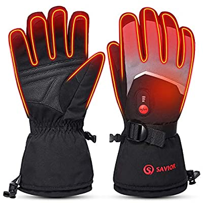 SAVIOR HEAT 2020 Upgrade Heated Gloves for Men Women, 7.4V Electric Rechargeable Battery Heating Ski Gloves for Cold Hands (Grey, S)