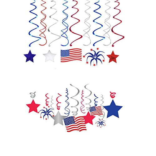 LJCL Patriotic Star Picks American Flag Toothpicks Cocktail Sticks Unicorn Cupcake Toppers Wrappers - Unicorn Party Supplies,Labor Day,Patriotic Decorations Party Supplies - Red Blue White