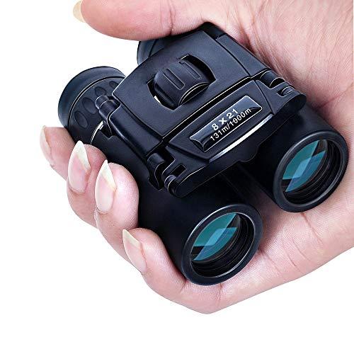 CHAOZHAOHENG Mini binoculares - 8x21 Compacto Zoom Remoto 1000m, HD Plegable Potente - Micro telescopio - BAK4 FMC óptico Caza Camping Deportivo