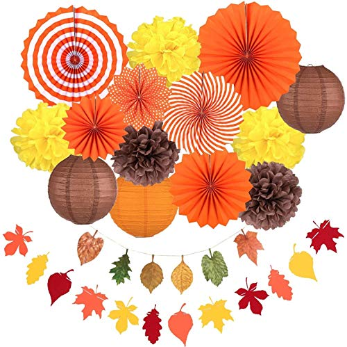 RENFEIYUAN Fall Party Decorations, Orange Hanging Paper Fans Autumn Paper Pompoms Paper Lanterns Maple Leaves Bunting Garlands for Thanksgiving Celebration, Birthday Decor Yuletide Decorations