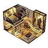 PN-Braes Casa de muñecas de madera en miniatura con muebles