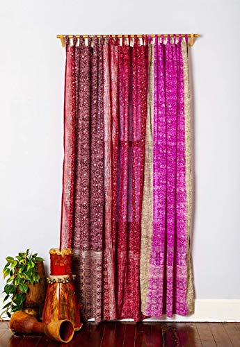 Light-Filtering Sari Colorful Curtains – Boho Curtains, Bed Canopy Panel, Wall Tapestry or Window Treatment For Bedroom or Living Room – Customizable, Indian Print Curtains + Tote bag, 42x84 in.