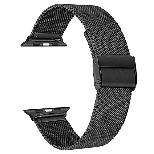 baklon Compatible con Apple Watch Correa 44mm 42mm, Pulsera de Repuesto de Acero Inoxidable Hebilla de Metal para iWatch Series 6 5 4 3 2 1 SE (42mm/44mm, Negro)