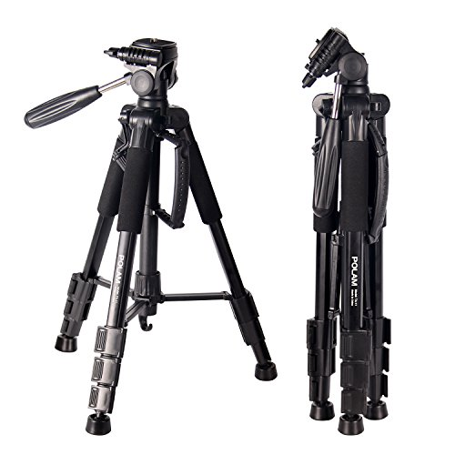 POLAM-FOTO 55' Travel Camera Tripod,Compact Tripod with Bubble Level,Lightweight Aluminum Tripod with Carry Bag for DSLR/SLR fits with Canon/Nikon/Sony/etc