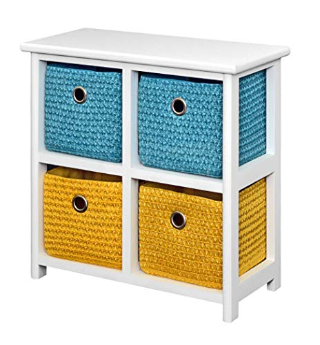 ts-ideen Kommode Nachttisch Schrank 42 cm Höhe Bad Regal Weiß mit 2 x 2 Bunte Körbe für Kinderzimmer, Büro, Bad, Flur und Babyzimmer