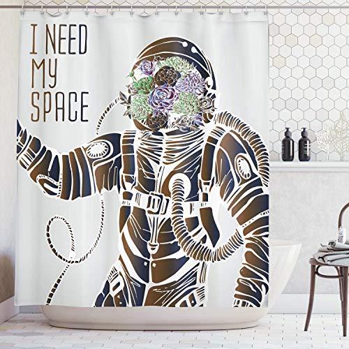Cortina de ducha para el espacio exterior, graciosas palabras de amor con una cabeza floral Cosmonauta piloto humor Ilustración, tela de tela para baño