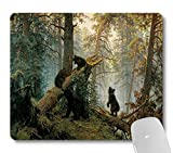Wknoon Morning in a Pine Forest with Bears Oil Painting Art Mouse Pad, Wild Animal Black Bear Old Woods Forest Mouse Pads