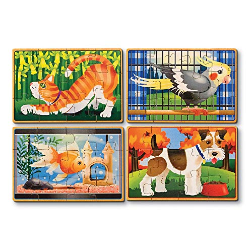 Melissa & Doug - Mascotas, 4 rompecabezas de madera (13790) , color/modelo surtido