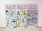 Porzellansticker-Set 8, Eiskönigin, Unterwasser, schrift Lila + Gratis Anleitungsbuch