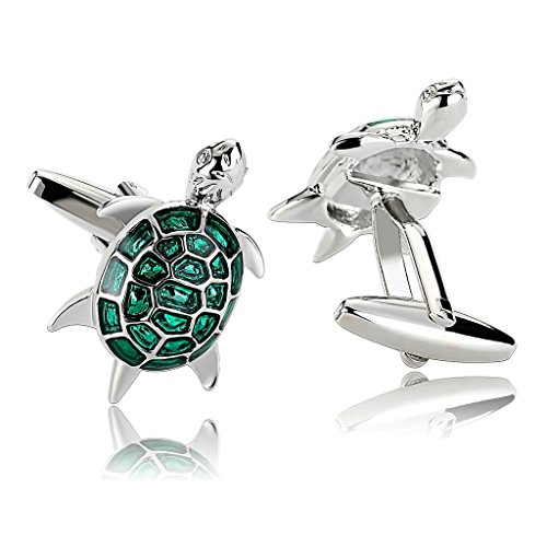 KnSam Bijoux Homme Bouton de Manchette Acier Inoxydable Novelty Animal Cufflinks Design Tortues de Mer Vert 2.6x1.7CM