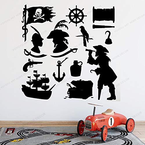 BJWQTY pirate sticker cute pirate puzzle wall art