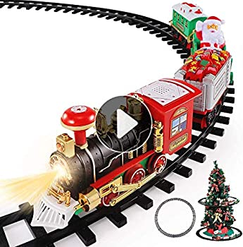 TEMI Christmas Train Toys Set Around Tree Electric Railway Train Set w/ Locomotive Engine Cars and Tracks Battery Operated Play Set w/ Lights and Sounds Christmas Spirit Gift for Kids Boys Girls