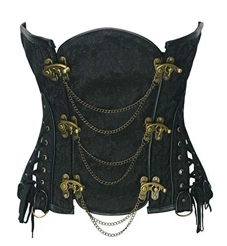 Bslingerie Gothic Punk Heavy Duty Brown Faux Leather Steel Boned Underbust Corset (XXL, Black)