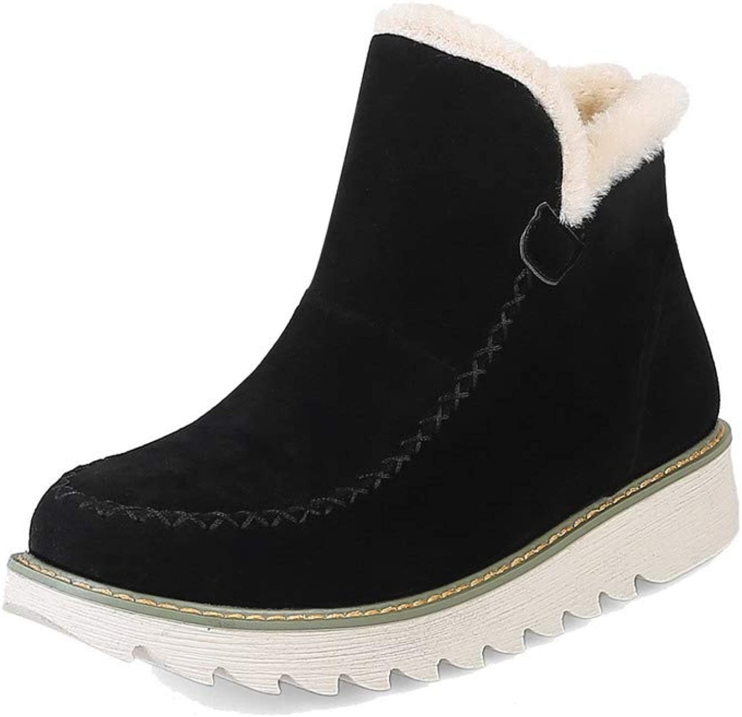 WeenFashion Women's Round-Toe Mid-Calf Kitten-Heels Solid Frosted Boots, AMGXX113335