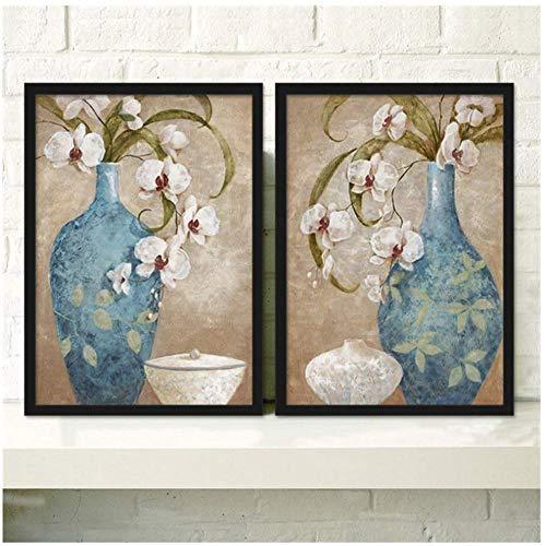 wzgsffs Wunderschöne Schöne Blumen Unbezahlbare Antike Kristall vase Leinwand Malerei Kunstdruck Poster Wohnzimmer Esszimmer Dekoration-50x70 cm Kein Rahmen