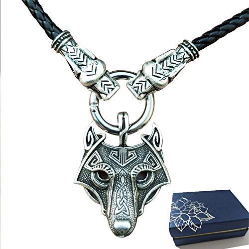 BBYaki Cabeza de Lobo Colgante Viking Collar Joyas Doble Grifo Nórdico Mitología Pagano Mens Amuleto Collar,A60cm